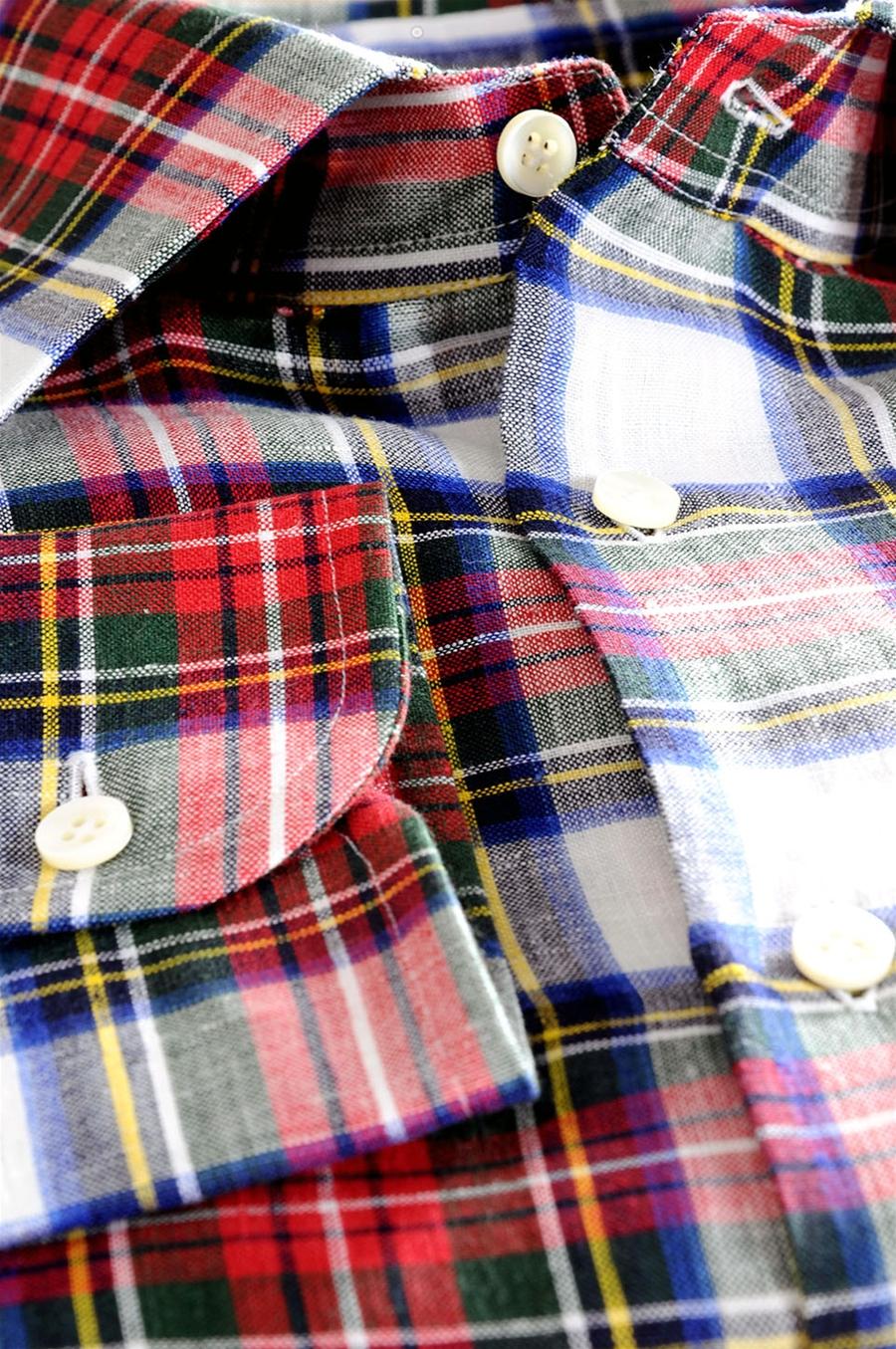 premium selection ff2ca d61bb Camicia a Quadri in Lino per Uomo Verde Rosso Giallo Blu e Grigio su Misura
