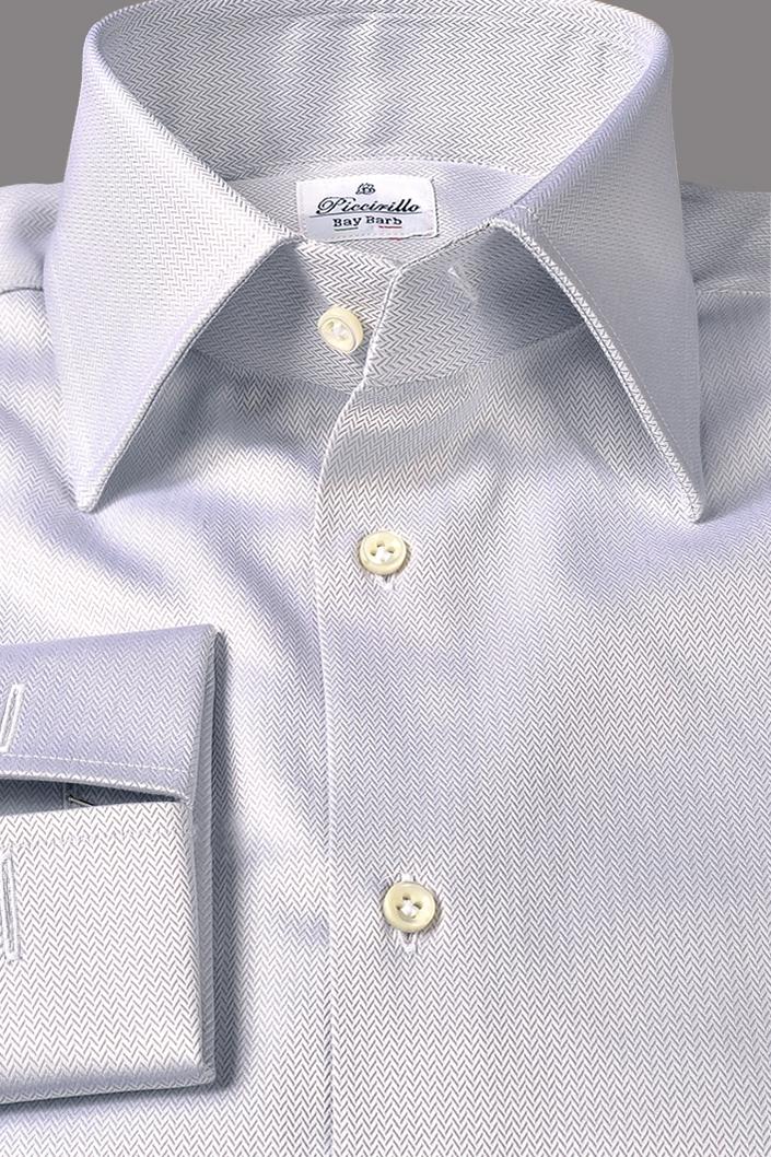 sports shoes fac95 b8cf4 Camicia su Misura Puro Cotone Trama Dobby Motivo Microspinato Grigio perla  su Bianco