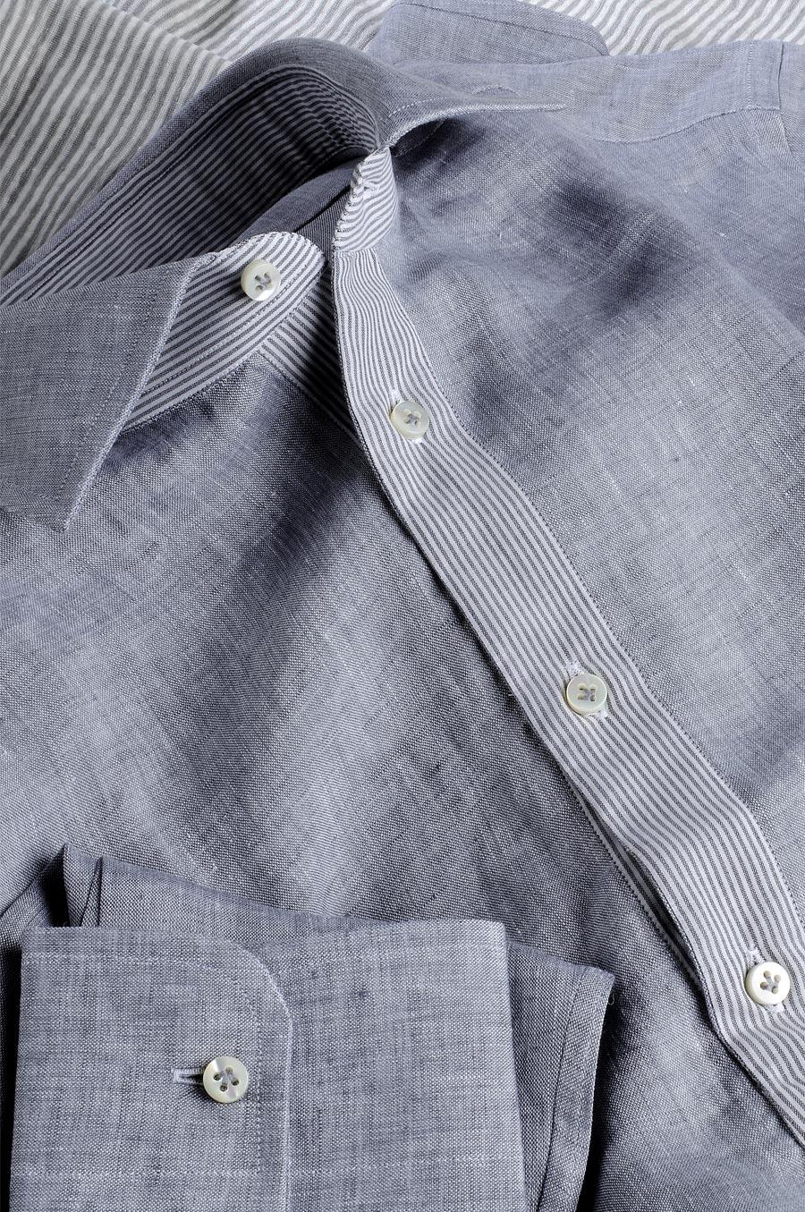 watch cda63 13682 Camicia Su Misura tessuto Lino Monti unito grigio melange interni riga  grigio bianco