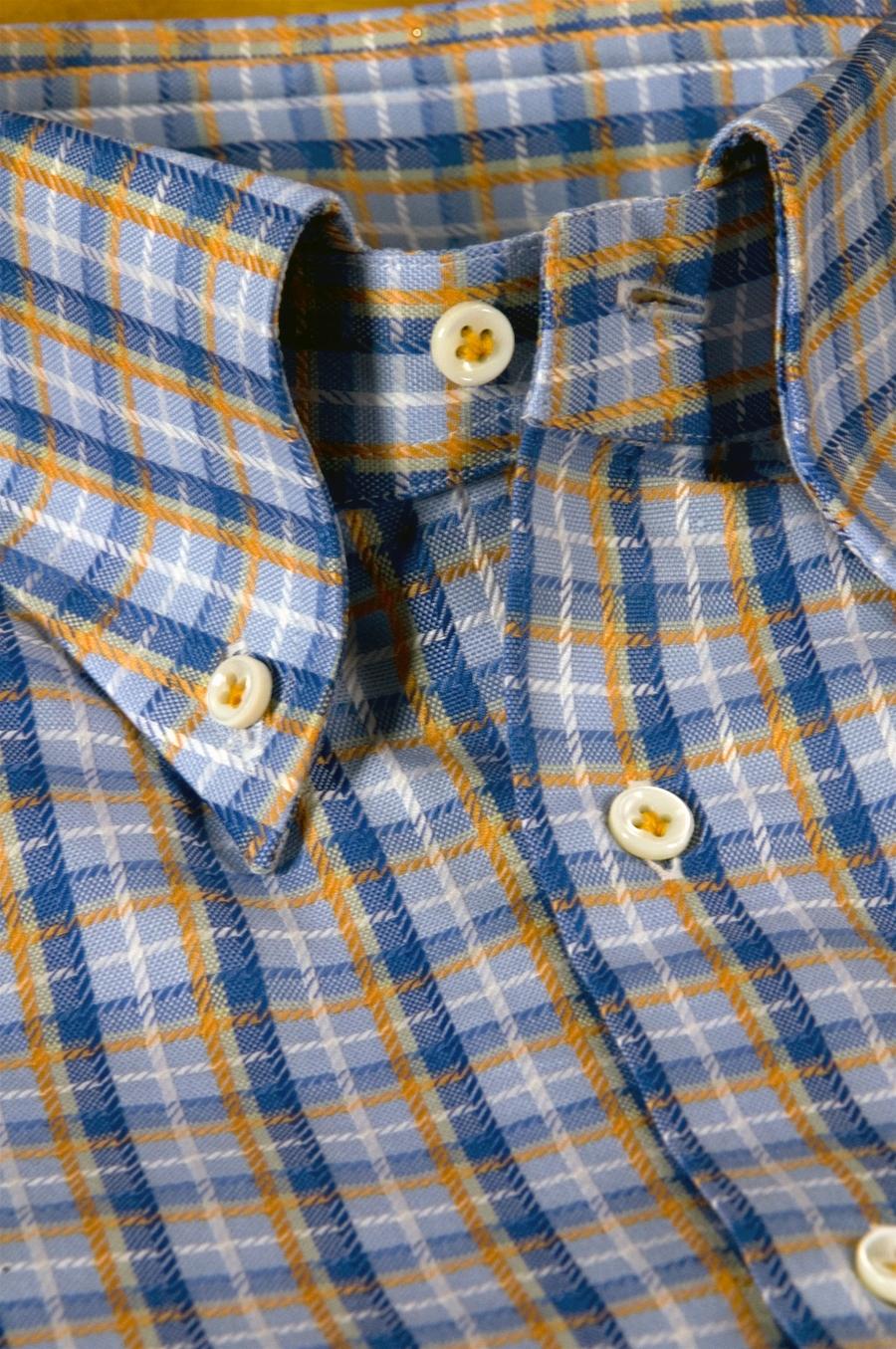 Camicia su misura tessuto oxford monti quadri azzurro for Quadri e quadri