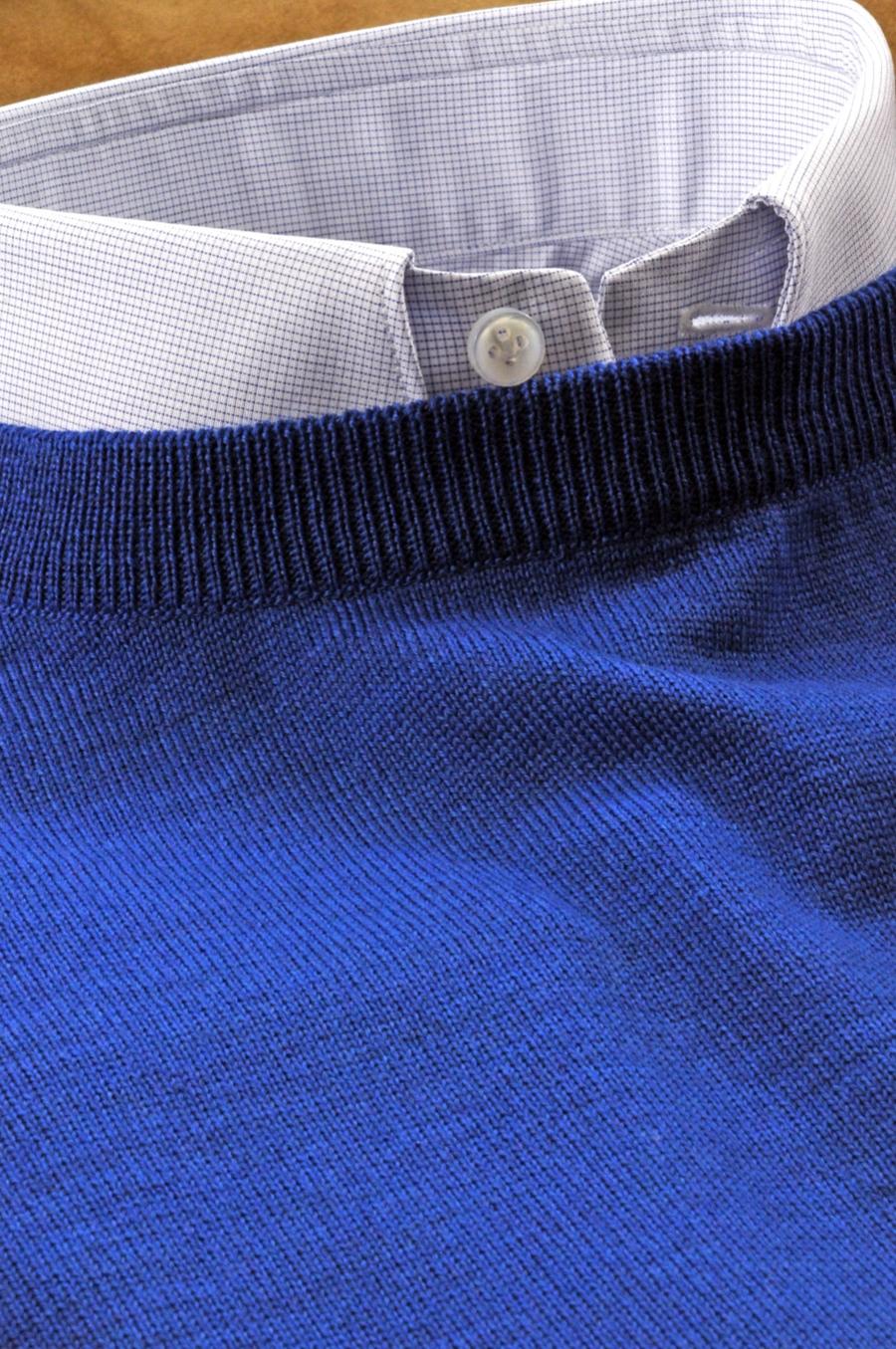 Pullover Girocollo Su Misura 100 Lana Merinos Ultrafine Colore Blu